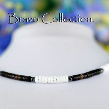 SN-108 Sterling Silver,Hematite & Natural Shell Beads New Choker Men Necklace.