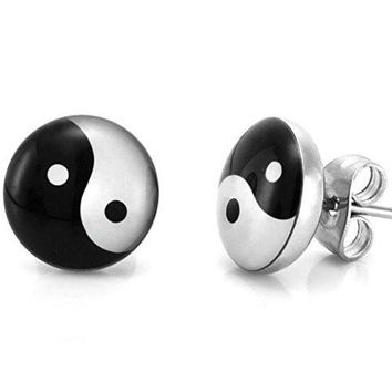Yin and Yang Graphic Stud Earrings for Men