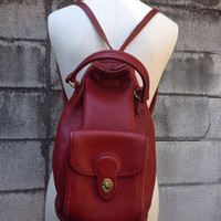 Coach Leather Backpack Vintage 1980s Oxblood Red Back pack Made in United States