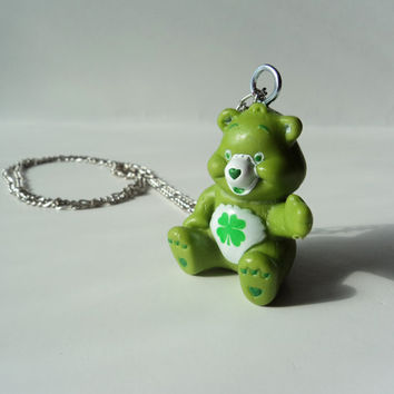 Care Bears Good Luck Bear Green Necklace Pendant Cute