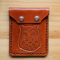Owl Purse, Hand Carved Leather Coin Purse, Hand Tooled Leather Purses, Hand Stitched Purse, Owl Handmade Purse by Tinas Leather Crafts