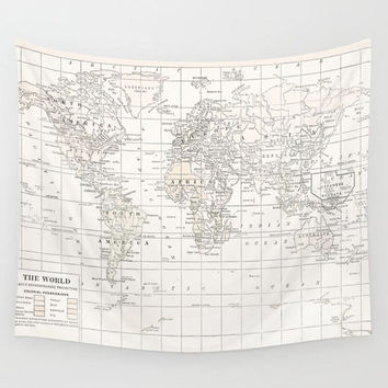 World Map Tapestry Wall hanging - vintage map, cream and white minimalist map, travel decor, wall decor atlas, den, bedroom, library