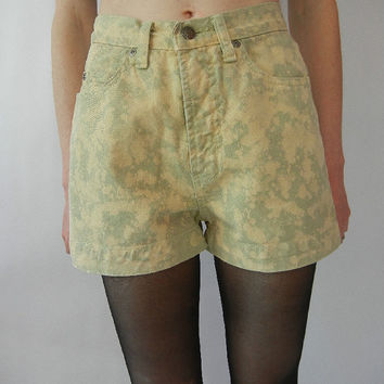 Vintage Upcycled Shorts, High Waisted, Size XS, Bleached, Tea Green, Rad, Tumblr
