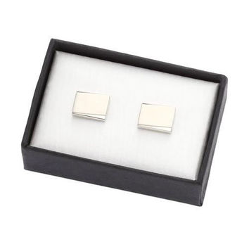 MG Gifts - Metal Cufflink W/A Pair (Nickel Color/Brush Finishing) In Black Card Board Box