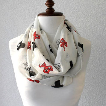 Cat Print Infinity Scarf - Loop Scarf - Circle Scarf - Cowl Scarf - Soft and Lightweight