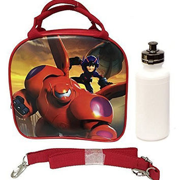 1 X Disney Big Hero 6 Lunch Box Bag with Shoulder Strap and Water Bottle Featuring Hiro, Baymax Mech