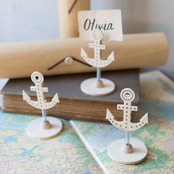 Set of 6 Anchor Card Holders In A Wooden Box