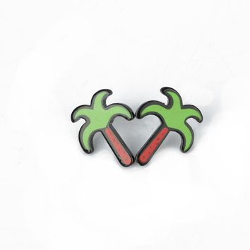 Fashion Small Earrings Punk Personality Acrylic Banana Watermelon Pineapple Cactus Heart Star Stud Earrings