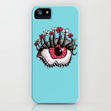 Eye Melt - Weird Red Eye With Flower Eyelashes iPhone Case by borianagiormova