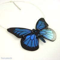 LOLA recycled CD butterfly necklace | Black and iridescent electric blue Papilio Ulysses butterfly | Jewelry by Savousepate
