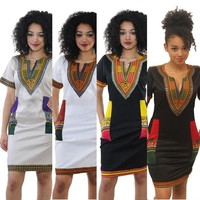 Sexy Casual Sundress Party Plus Size Clothing Vintage African Print , S-3XL Women Summer Bodycon Dress 2017 Robe Dashiki Dresses