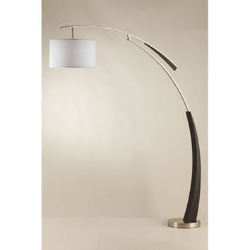 NOVA Lighting 2110438 Launch Dark Brown and Brushed Nickel One-Light Arc Lamp with White Shade