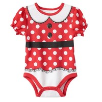 Disney's Minnie Mouse Polka Dot Front & Back Bodysuit - Baby Girl, Size: