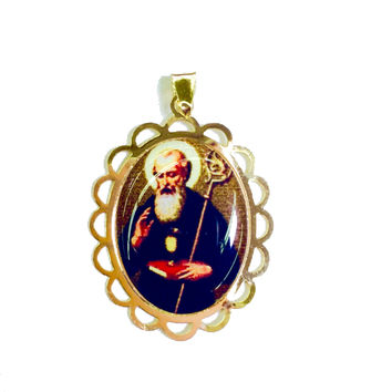 Saint Benedict 1' L Oval Shape Gold Plated Medal