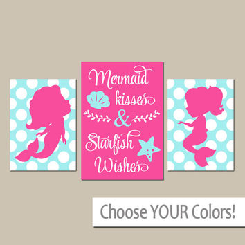 MERMAID Wall Art, CANVAS or Prints, Mermaid Kisses Starfish Wishes, Sisters Bathroom Decor, Polka Dot, Girl Shared Bathroom, Set of 3 Quote