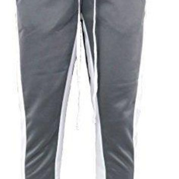 Henry & William Men's Techno Track Pants W/Ankle Zipper (Grey White, M)