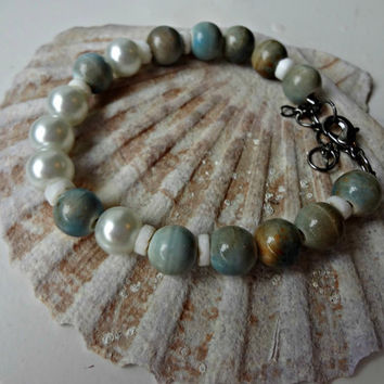 Blue Marble Ceramic and Pearl Bead Bracelet by EudaimoniaJewelry
