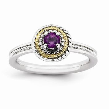 Sterling Silver & 14k Gold Stackable Expressions Sterling Silver Amethyst Ring