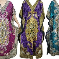 Mogul Interior Mogult Womens Caftan Maxi Dress Cover Up Evening Kaftan Wholesale Lot Of 3 Pcs