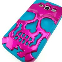 For Samsung Galaxy S3 S III - Pink on Blue Skull Cap Case Hybrid Cover
