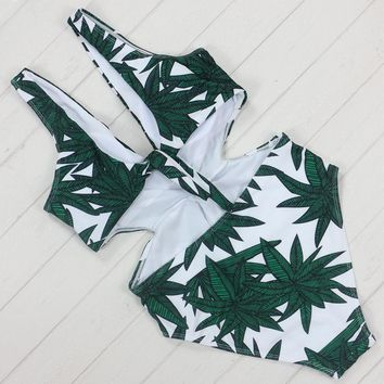 Green Leaf Plunging One Piece