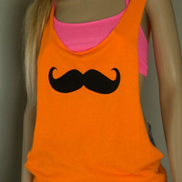 Neon Orange Mustache Hand Cut  Low Sides Tank Top Shirt