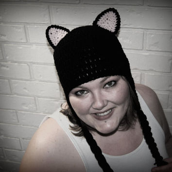 Crochet Black Cat Hat, Cat Ears Crochet Hat, Womens Crochet Hat, Teen Hat, Kitty Crochet Hat, Kitten Hat, Kitty Cat Ears, Black Crochet Hat