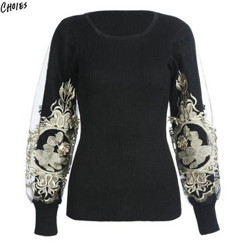 Black Floral Embroidered Jumper Patch Worked Mesh Sleeve Knitted Pullover Sweater Women Round Neck Novelty Design Fall Top Wear
