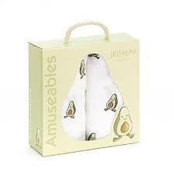 JELLYCAT AMUSEABLE AVOCADO PAIR OF MUSLINS