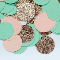 Gold glitter, light pink, mint circular confetti