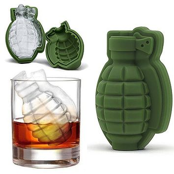 3D Ice Buckets Cube Mold Grenade Shape Ice Cream Maker Bar Drinks Whiskey Wine Ice Maker Silicone Kitchen Tool