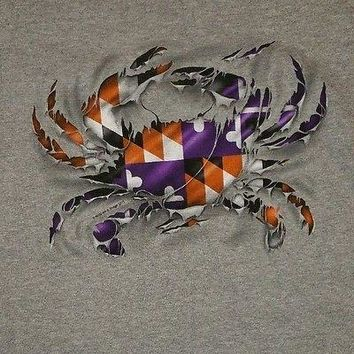 New RIPPED MARYLAND CRAB MARYLAND  FLAG  ORIOLES RAVENS COLORS  T  SHIRT