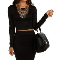 Black Scuba Crop Top