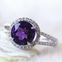 Colored Stone Wedding Ring 14k White Gold 8mm Round Cut Amethyst  .35ct Diamonds Promise Ring  Split Shank Diamond Halo Bridal Ring Jewelry