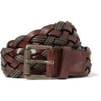AMI - Brown 3.5cm Woven Leather Belt | MR PORTER
