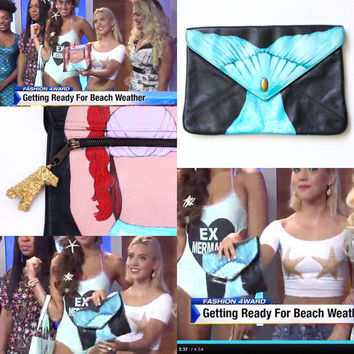 Mermaid purse, hand painted by Stars on Mars. Gold painted real coral chunk zipper pull. Featured on TV program 'Fashion 4ward'. Each OOAK