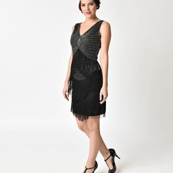 Unique Vintage 1920s Black & Silver Beaded Renee Fringe Cocktail Dress