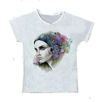 "Womens "" Beautiful Girl with Flowers in Hair "" White T-Shirt / Top"