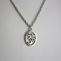 Om, Ohm, Aum Necklace In Tibetan Silver, Hypoallergenic Chain With Clasp