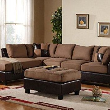 3-Piece Modern Reversible Microfiber / Faux Leather Sectional Sofa Set w/ Ottoman (Saddle)