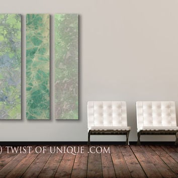 Pastel Green Abstract painting, -3 Long panel ORIGINAL Abstract Painting, abstract artwork, - Green, purple,, yellow, blue, lavender
