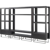 Palisada 3 Piece Entertainment Wall in Black On Oak Finish with Polished Chrome Legs by Allan Copley Designs