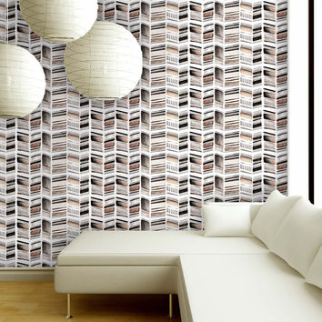 Stone Collection Herringbone Print in Neutral