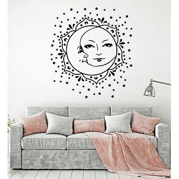 Vinyl Wall Decal Moon And Sun Stars Flower Face Bedroom Decor Stickers Mural (g156)