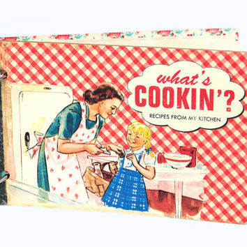 Kitschy retro recipe book album in red gingham with recipe cards / Mother's Day gift / vintage style