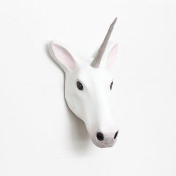 Paper mache white Unicorn wall mount head sculpture, home, nursery, playroom or hallway decor, fairy floss