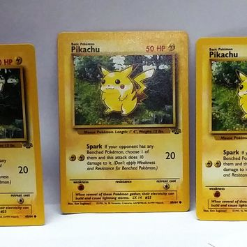 Pikachu (3x, 3 cards), Pokemon Pikachu 60/64, Jungle Set, NM