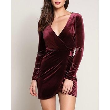 velvet wrapped bodycon dress - burgundy