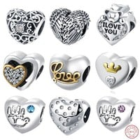 Love Heart-shape Beads Fit Pandora 925 Sterling Silver