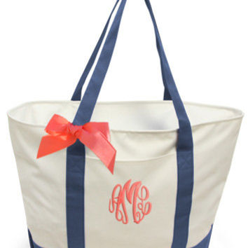Personalized GIANT Boat Tote with Ribbon Bow - Extra Large Monogrammed Beach Bag, monogrammed bridesmaids bags, large overnight totes